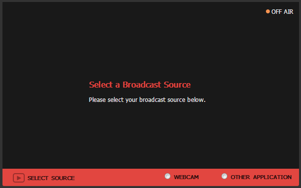 BitTorrent Live - Select Broadcast Source