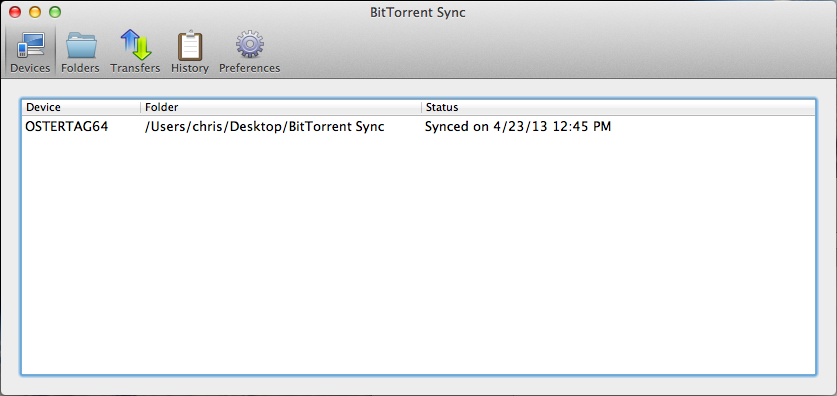 Bittorrent Sync Devices-Mac